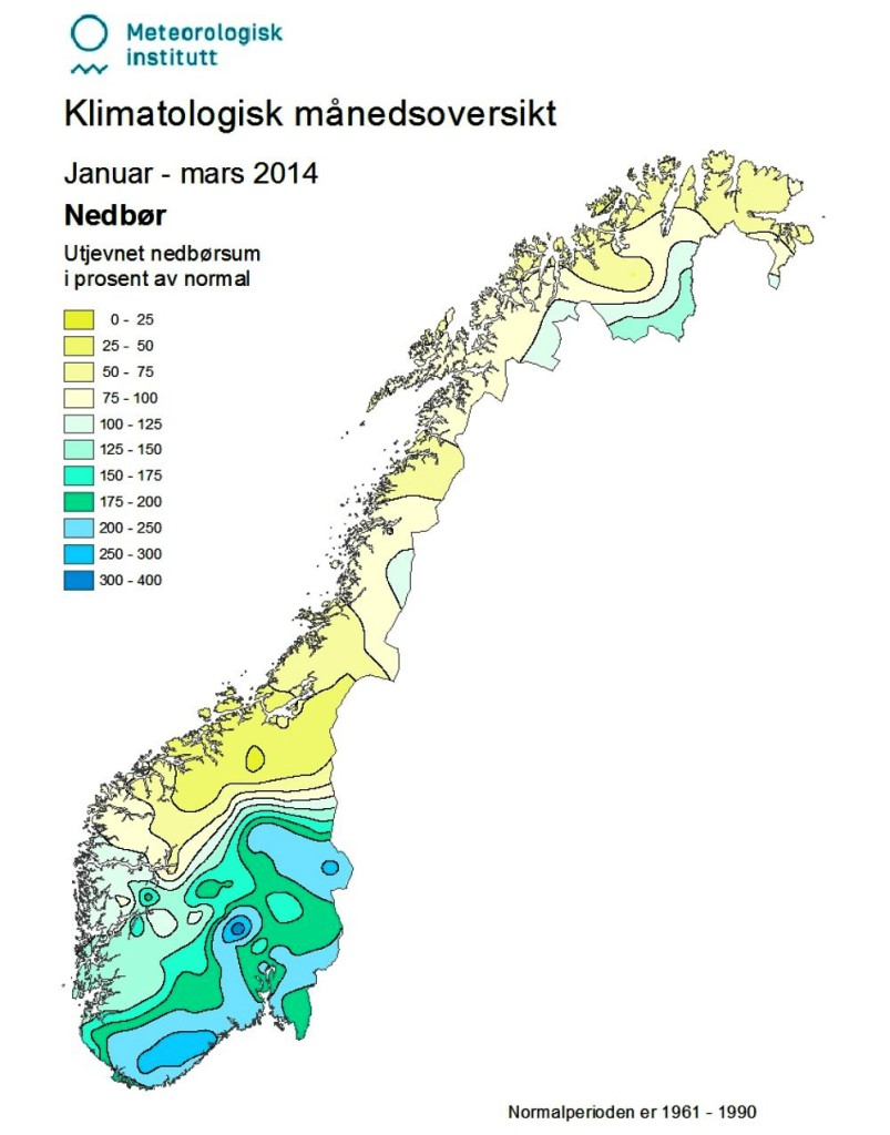 Oversikt over vinternedbøren i Norge sist vinter.